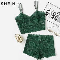 Green Two Piece Set Summer Sexy Elegant Lingerie Sets Women Floral Lace Bustier Crop Top and Shorts Pajama Set