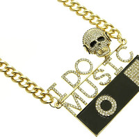 NECKLACE / I DO MUSIC / LINK / METALCHAIN / CRYSTAL STONE PAVED / EPOXY / MESSAGE / SKULL / 2 1/4 INCH DROP / 16 INCH LONG / NICKEL AND LEAD COMPLIANT / HALLOWEEN
