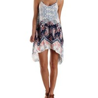 Blue Combo Mixed Print Trapeze Dress by Charlotte Russe