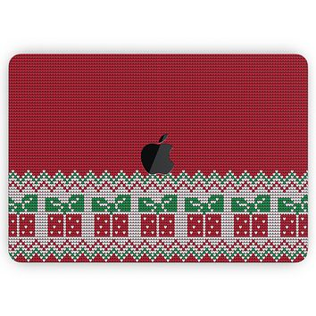 """Knitted Ugly Christmas Sweater V6 - Skin Decal Wrap Kit Compatible with the Apple MacBook Pro, Pro with Touch Bar or Air (11"""", 12"""", 13"""", 15"""" & 16"""" - All Versions Available)"""