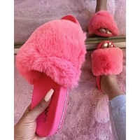 RESTOCKED! FARRAH FLUFFY SLIPPER/SLIDE (BARBIE PINK)
