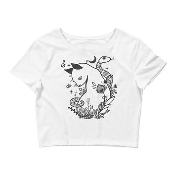 Cat And Snake White Crop Top