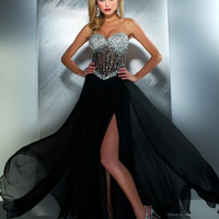 Mac Duggal Prom 2013- Black And Silver Rhinestone Gown - Unique Vintage - Cocktail, Pinup, Holiday & Prom Dresses.