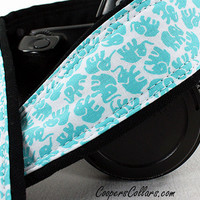 Elephant Camera Strap, Your Choice of Aqua, Grey or Pink, dSLR, SLR, Lucky Elephant, 93