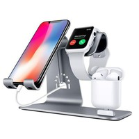 Bestand Bestand Ho6 Grey 3 In 1 Apple Iwatch Stand Airpods Charger Dock Phone Desktop Tablet Holder For Airpods Apple Watch/ Iphone X/8 Plus/8/7 Plus/ Ipadspace Grey(patenting Airpods Charging Case Not Included )