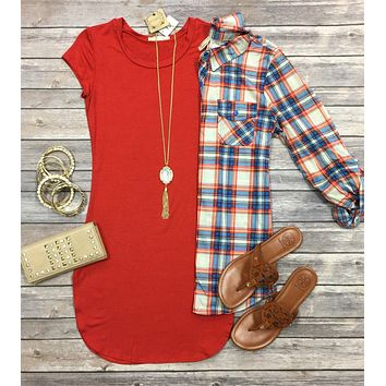 Fun in the Sun Tunic Dress: Chili
