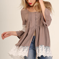 Latte Button Down Bell Sleeve Tunic Top