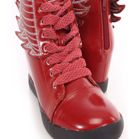 Red Lace Up Wings Sneaker Wedges Faux