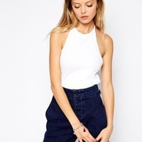 ASOS Top in Rib with Halter Neck