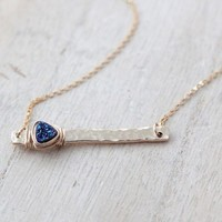 Druzy Bar Necklace - Cobalt    (As Seen on Baby Daddy)