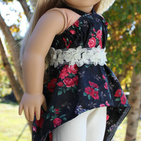 4 piece set!!  black floral high low shirt,ivory leggings ,beret style slouch hat, belt, 18 inch doll clothes,