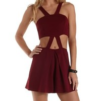 Burgundy Strappy Cut-Out Romper by Charlotte Russe