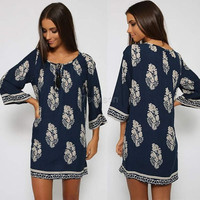 Vintage Style Women Casual Loose O-Neck 3/4 Sleeve Print Summer Beach Dress - White/Navy/Black