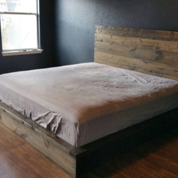 "Rustic Platform Bed Frame with matching Headboard - Big D Custom Builds ""Nest"" Platform bed"
