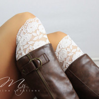 Ivory Lacey Boot Cuffs Boot Toppers Lace Socks Boot Socks Button Lace Socks Wedding Boot Cuff Fall Boot Socks Floral Lace Boot Topper