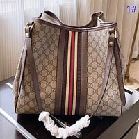 GUCCI New fashion stripe more letter print leather shoulder bag crossbody bag handbag 1#