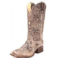 Corral Ladies Boots Distressed Brown with Bone Inlays and Brass Stud Accents
