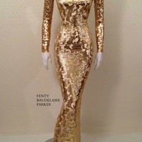 Original Price $1035 The Anubis Diamond, Hand Beaded Sequins Gown. Mesh bodice with sequins detailing, nude lining, tear drop sequins beading on sleeves and chest. Hidden zipper, high collar.