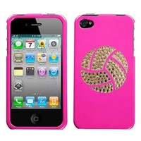 Shocking Bright Pink and White Crystal Rhinestone Bling Bling Volleyball Sport for At&t Sprint Verizon Iphone 4 Iphone 4s 16gb 32gb Snap on Hard Plastic Durable Cover