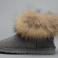 Best Online Sale Ugg Fox Fur 5854 Metallic Classic Mini Gray Boot Snow Boots #7