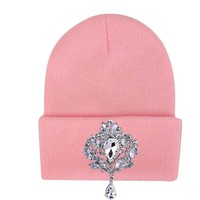 Knitted Women's Winter Hats Skullies Beanies Caps Luxury Rhinestone Decoration Headgear Females gorro feminino touca inverno