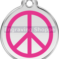Peace Sign Enamel and Stainless Steel Personalized Custom Pet Tag with LIFETIME GUARANTEE ID Tag Dog Tags and Cat Tags Free Engraving