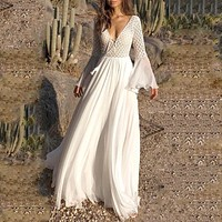 Women Dress Long Flare Sleeve V Neck White Hollow Lace Maxi Dress Holiday Chic Female Dresses