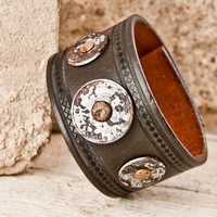 Man's Jewelry Bracelet - Men's Accessories - Brown Leather Cuff - Wristbands - Gift Guide for Him Christmas Handmade Vintage Finds Sale