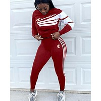 Champion tide brand female letter striped digital print two-piece Red
