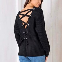 Winter Women's Fashion Hollow Out Knit Sweater [31068487706]