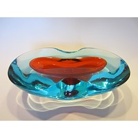 Murano Sommerso Oblong Glass Art Blue With Red Accent