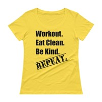 Workout Eat Clean Be Kind Repeat Exercise T-shirt Tops