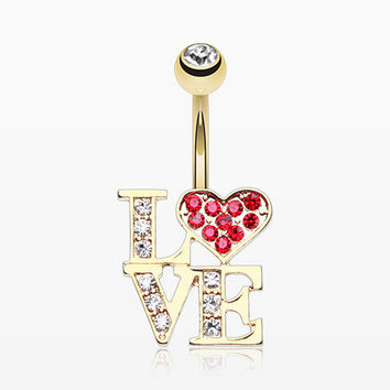 Golden Charming LOVE Belly Button Ring