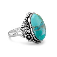 Sterling Silver Oval Turquoise Floral Design Ring