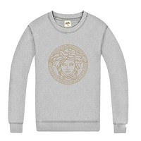 Versace British big cotton crewneck sweater Gray