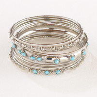 Silver and Turquoise Indian Bangles, Set of 9