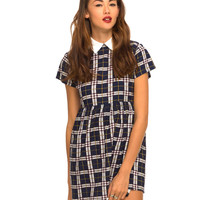 Motel Bea Collared Dress in Plaid Navy