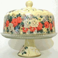 White and Red Rose Cake Stand