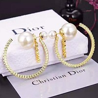 Dior New fashion letter pearl round circle long earring accessory Golden