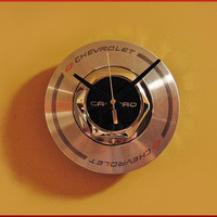 Camaro Clock is a Repurposed Chevy Center Hubcap for Mancave Industrial Decor #camaro #chevy #clock #mancave #giftsformen #valentinesday
