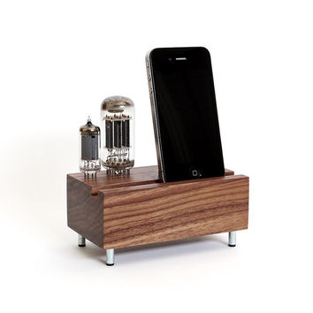 Smartphone charging station handcrafted from walnut wood with double electron tubes