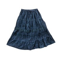 Mogulinterior Boho Long Skirt Solid Blue Tiered Hippie Casual Holiday Wear Cotton Skirts