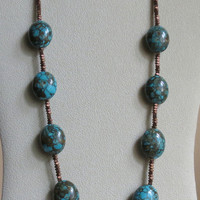Necklace with Turquoise,  Hematite and Sterling Silver Clasp, Statteam