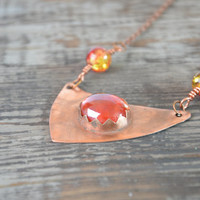 red necklace long boho necklace metalwork bohemian jewelry copper necklace gift women tribal necklace glass necklace  gypsy jewelry