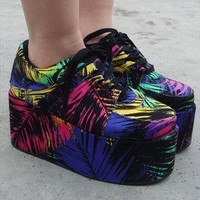 Chunky Wedge Brothel Creepers - Electro Print from Fashion Thirsty
