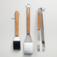 Stainless Steel 3-Piece Grilling Tool Set - World Market