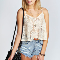 Daisy Lace Swing Woven Crop Cami