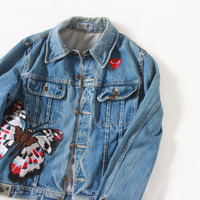 Vintage unisex LOIS distress faded wash denim jacket with Comme des garcons iron on patch Heart Play and butterfly moth   Size S - M