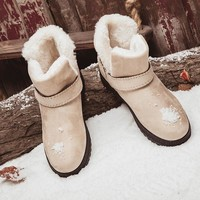 Designer Women Ankle Snow Boots Female Plush Insole Winter Boots Ladies Slip On Chaussure Femme