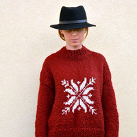 Claret sweater, hand knitted sweater with snowflake , Christmas, M size ,3/4 sleeves,  womens clothing